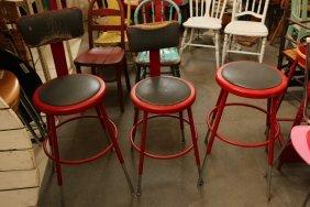 (3) Red Painted Metal Industrial Stools