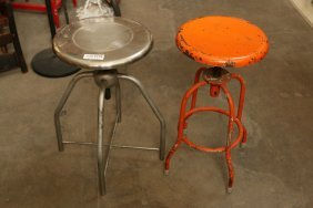 (2) Industrial Stools One Silver And One Orange