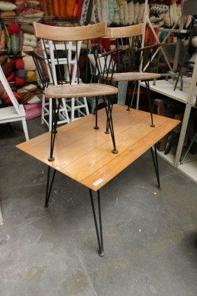 Attr. Paul Mccobb Metal Base Wood Top Table.