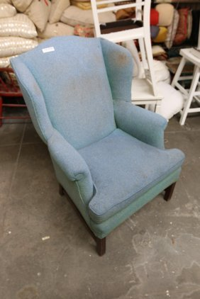Blue Wool Wing Back Chair.