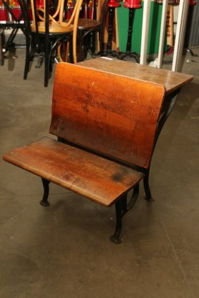 Antique Metal And Wood Childs School Desk.