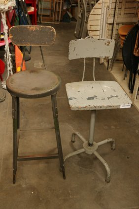 (2) Metal Industrial Drafting Stools