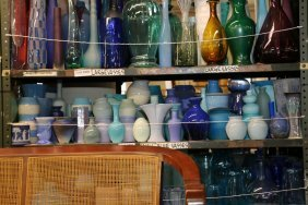 Collection Of Small Blue, Purple Ceramic And