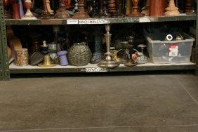 Assortment Of Metal Candlesticks, Votive Candle