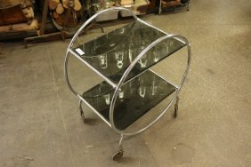 Chrome And Glass Deco Style Two Tier Rolling Cart.