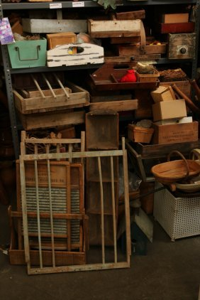 Collection Of Country Wood Boxes, Washboards, And