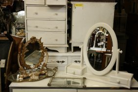 Grouping Of Vanity Mirrors And Trays, Four In