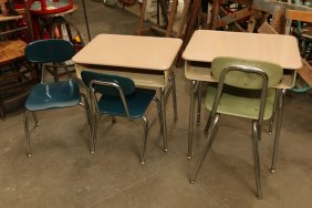 Two Vintage Metal School Desks, And Three Vintage