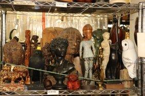 Shelf Of Statues, Busts, Sculptures.