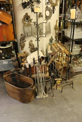 Grouping Of Andirons And Fireplace Tools.
