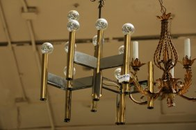 Mid Century Brass And Chrome Light Fixture,