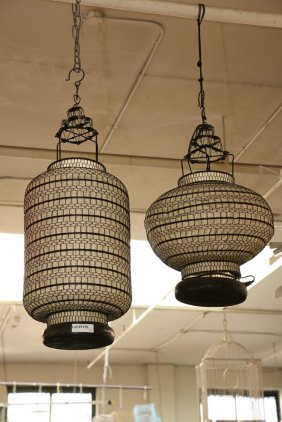 Two Contemporary Asian Style Lantern Shaped Light