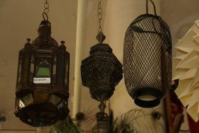 Three Light Fixtures Two Mid Eastern Style Brass,
