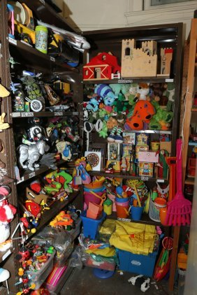 Two Shelf Units Incl Metal Toys, Marbles, Beach