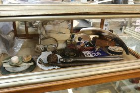 Contents Of Nickel Plated Display Case Objets