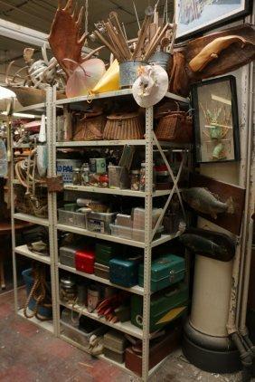 Large Fishing Lot Shelf Unit Consisting Of Crull