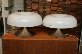 Pair Of Mushroom Table Lamps.