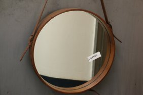 Leather Mirror In The Manner Jacques Adnet