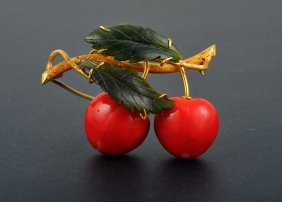 18K Yg Coral And Nephrite Jade Cherry Brooch