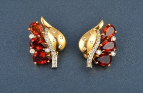Platinum And 18K Gold Diamond And Citrine Ear Clips