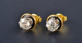 Gold And Enamel Diamond Studs
