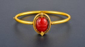 Antique Carnelian Scarab Bangle