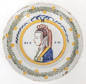 Queen Anne Tin Glazed Earthenware Plate