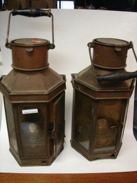 Pr (2) Copper & Brass Lanterns