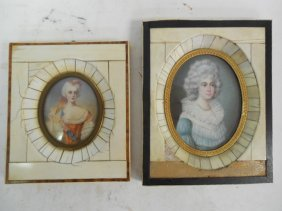 2 Continental 19th C Portraits On Ivory