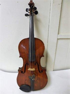 German Violin W/bow In Wood Case