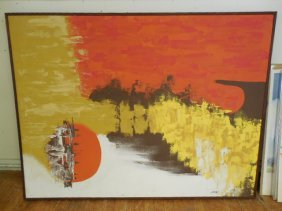 Large Mid Century Abstract O/c