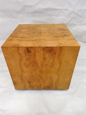 Baughman Style Olivewood Burl Cube Side Table On Black