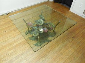 Silas Seandel Patinated Brass & Steel Coffee Table