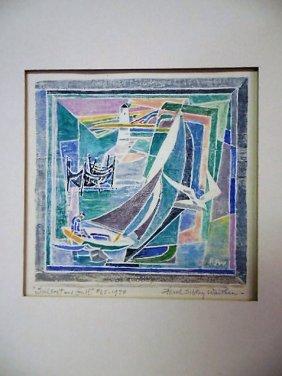 Ferol Sibley Warthen Wood Block Print - Provincetown,