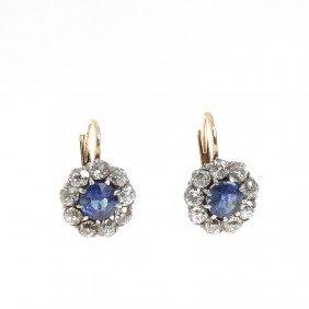 Gold Earrings With Diamonds , XIX/XX Century