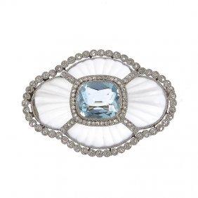 Brooch With Aquamarine, Circa 1900  Platinum  ~ 0,95
