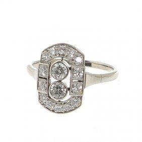 Art D�co Ring,  30.-40. XX Th Century White Gold  ~