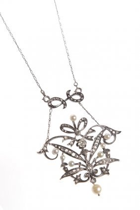 Necklace, XIX/XX Th Century Silver, Gold  ~ 0,750,