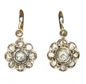 Pair Of Earrings In The Form Of A Flowers, 19th/20th