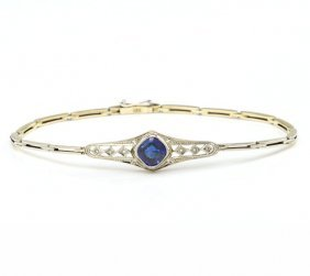 Bracelet With Synthetic Sapphire, 1920s; 0.585 Gold,