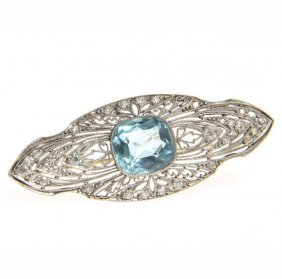 Edwardian Brooch, 1920s; 0.950 Platinum, 14 K Gold, 1