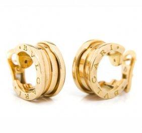 Pair Of Gold Earrings, Bulgari, Italy, 20th Century;