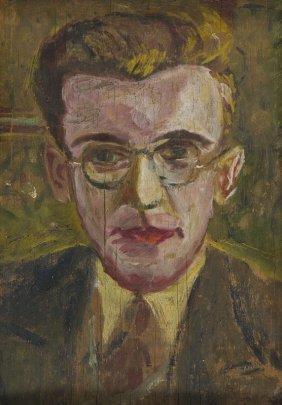 Karol Larisch (1902 - 1935) Portrait Of Adam Wazyk; Oil
