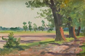 Wojciech Kossak (1856 - 1942) Paysage With Trees, 1935;