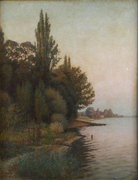 Robert Hoffman (1868 - 1935) Lake Shore, 1895; Oil On