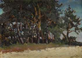 Henryk Dietrich (1889 - 1948) Paysage With Trees; Oil