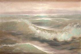 Jan Jozef Kasprowicz (b. 1920) Sea Wave; Oil On Canvas,