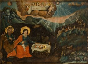 Unknown Artist, 19/, 20th Century, , Nativity; Oil On