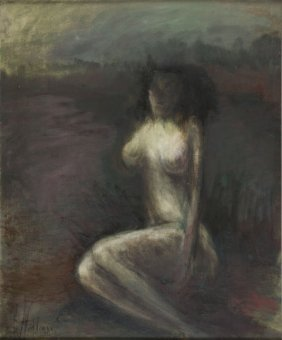 Alicja Wahl (b. 1932) Female Nude, 1982-83; Oil On