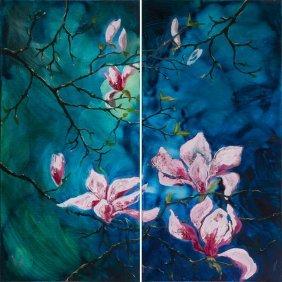Anna Schumacher (b. 1975) Spring Magnolia, Diptych,
